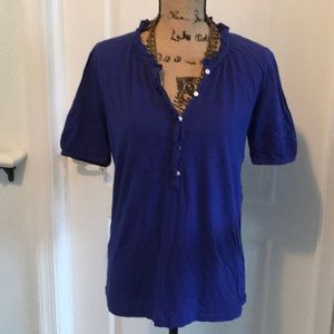J.Crew ruffle neck with buttons - L